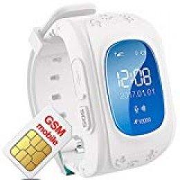 Smartwatch Niños GPS de Pulsera con SIM Card Slot Reloj Cmartwatch Niños SOS Pulsera Kids Call Finder Reloj Inteligente Niños con GPS Control de iPhone iOS Android Smartphone