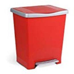 TATAY Millenium Cubo de Basura Cocina con Apertura a Pedal, 23 l de Capacidad, Plástico Polipropileno, Rojo, 33,5 x 30 x 39 cm