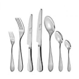 Otto Koning - Dortmund- Set 42 cubiertos para 6 comensales, acero inoxidable 18/10 - pulido espejo- con tenedor, cuchara, cuchillo, tenedor postre, cuchara postre, cuchillo postre y cuchara moka.