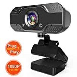 ANWIKE Webcam HD 1080P con micrófono, Webcam para computadora con transmisión automática con Enfoque automático para computadora portátil/computadora de Escritorio/Mac, para Video Llamada/Conferencia