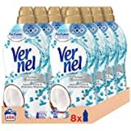 Vernel Suavizante Lavadora Concentrado Aromaterapia Agua de Coco & Minerals 57 Lavados - Pack de 8, Total: 456 Lavados (10.4 L)