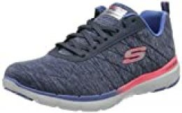 Skechers Flex Appeal 3.0, Zapatillas para Mujer, Azul (Navy Mesh/Pink & Purple Trim Nvmt), 37 EU