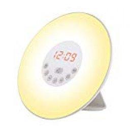 Wake Up Light, Despertador luz LED con Radio FM, 6 Sonidos Naturales, 7 Luces LED de Colores & Simulación de Amanecer / Atardecer para Casa, Dormitorio