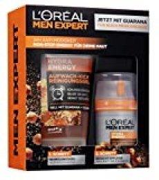 L'Oréal Men Expert Hydra Energy Set de regalo, para hombres, 24H cuidado hidratante con guarana (50 ml) y gel de lavado (150 ml) para el cuidado facial diario