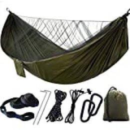 iFCOW Hamaca de camping con mosquitera, portátil, plegable, de viaje, senderismo, al aire libre, hamaca para dos adultos Verde militar.