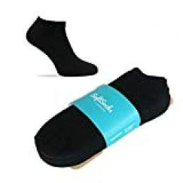 SoftSocks SNEAKER LOW CUT Calcetines para mujeres, hombres y adolescentes, varios tamaños, 6 pares: ¡Negro, blanco o mixto! Calidad de algodón! (Negro, 47-50)