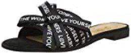 Desigual Shoes Mambo Lettering, Sandalias con Punta Abierta para Mujer, Negro 2000, 36 EU