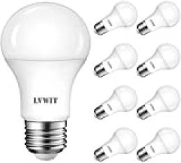 LVWIT Bombillas LED E27 (Casquillo Gordo) - 11W equivalente a 75W, 1055 lúmenes, Color blanco frío 6500K, No regulable - Pack de 9 Unidades.