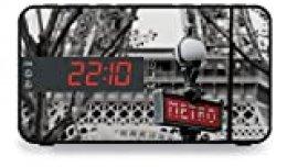 """BigBen RR15METRO - Radio despertador (pantalla LED de 2"""", función siesta, con doble alarma y función snooze, altavoz integrado), diseño de Paris, multicolor"""