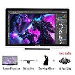 HUION Kamvas GT-220 V2 21.5 Pulgadas Monitor Gráfico de Dibuj Negro 8192 Niveles de Presión HD 1920 x 1080 IPS Monitor de Lápiz para Windows y Mac (Plata)
