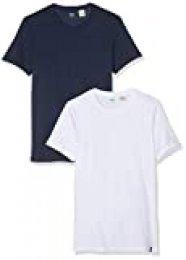 Levi's 2pk Crewneck 1 Camiseta, Multicolor (2 Pack Slim Crew Dress Blues/White 0002), XX-Small para Hombre