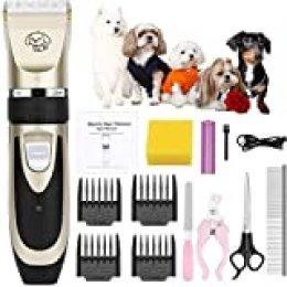 OurWarm Cortapelos para perros y gatos con bajo nivel de ruido, cortadora de pelo para perros y gatos, recargable por USB, máquina de afeitar eléctrica profesional