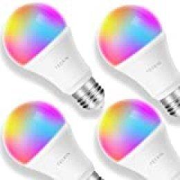 TECKIN Bombilla LED inteligente con Luz Cálida WiFi 2800k-6200k ajustable y lámpara multicolor Funciona conAlexa,Móvil Google Home, E27 equivalente 7.5W bombilla de cambio de color, 4 paquetes