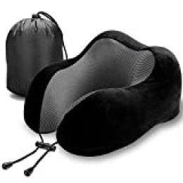 Cojín de viaje, Bicaslove Memory Foam U Neck Pillow y cómodo cojín de vuelo para aire, coche, casa, oficina Negro Negro