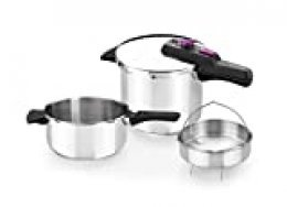 Monix Tempo Duo - Set de ollas a presión 4+7 L incluye cestillo in acero inoxidable 18/10, apta para todo tipo de cocinas incluida inducción