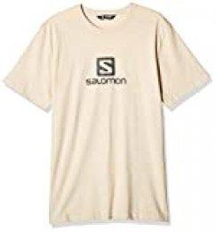 Salomon Coton Logo SS tee M Camiseta de Manga Corta, Hombre, Beige/Gris (Rainy Day/Ebony), 2XL