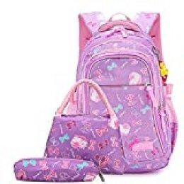 Neusky - Mochila Escolar para niñas, jóvenes y niños con Gran Capacidad Lila-Set Large