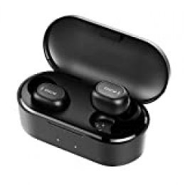 Auriculares Bluetooth con Micrófonos, HOMSCAM True Wireless Earbuds Impermeable Auriculares Inalámbricos Bluetooth 5.0 QCY HiFi Mini Twins Estéreo In-Ear Bluetooth con Caja de Carga Portátil