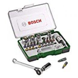 Bosch Professional 2607017160 Pack Unidades para Atornillar, con Llave de carraca, versión estándar, Standard, 750 W, Negro/Verde, 1 pack, Set de 27 Piezas