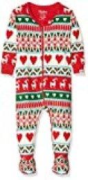 Hatley Organic Cotton Footed Sleepsuit Pijama, Blanco (Mistletoe Deer 100), 12-18 Meses (Talla del Fabricante: 12M-18M) para Bebés