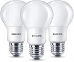 Philips Bombilla LED estándar, pack 3 unidades, 8 W, luz blanca cálida