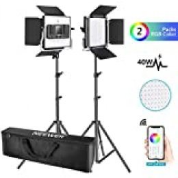 Neewer 2 Packs Luz LED RGB 660 con Control App Kit Iluminación Video y Fotografía con Soportes y Bolsa 660 SMD LED CRI95 / 3200K-5600K / Brillo 0-100% / 0-360 Colores Ajustables