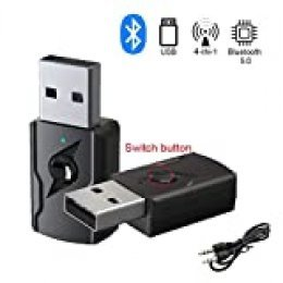 GeekerChip Receptor/Transmisor Bluetooth 5.0 USB,Transmisor Bluetooth TV,Adattatore Wireless Portatile per Casa/Auto/Laptop, Jack AUX-in 3,5mm Denoise HiFi Music