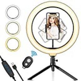 """SYOSIN Luz de Anillo LED, 10.2"""" con Trípode Stand Control Remoto Bluetooth Soporte para Teléfono, 3 Modos de Luz y 11 Niveles de Brillo para Maquillaje, Youtube Video, Belleza y Fotografía de Moda"""