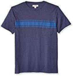 Marca Amazon - Goodthreads - Camiseta de cuello redondo para hombre, raya lisa, flameado, azul, (Bright Blue Stripe), US L (EU L)