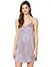 Marca Amazon - IRIS & LILLY Camisón Corto de Tirantes con Detalle de Encaje para Mujer, Morado (Grey Ridge), XS, Label: XS