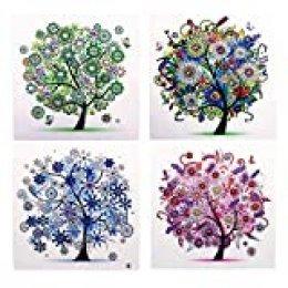 Kit de pintura de diamantes 5D de 30 x 30 cm, 4 unidades