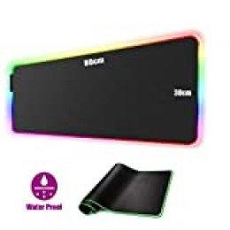 Alfombrilla para Mouse, Alfombrilla para Juegos de 800 x 300 con 7 Colores LED para Mouse Alfombrilla de Escritorio Alfombrilla Antideslizante Impermeable para computadora (800 * 300 * 4)