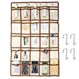CAVEEN Bolsillo de Almacenamiento 25 Bolsillos de Clase Habitación Bolso de Almacenamiento para Tarjetas Gráfico Heléfono Clave Color Blanco