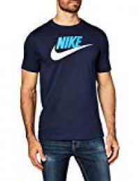 Nike M NSW tee Icon Futura T-Shirt, Hombre, Obsidian/lt Photo Blue/(White)