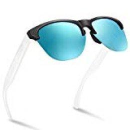 NWOUIIAY Lentes de Sol de Moda Clásico Retro Vintage Gafas de Sol de Lentes Polarizadas para Hombres on Lente TAC 100% UV 400 de Marco de Nylon (Blanco + azul)