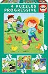 Educa - Puzzles Progresivos puzzle infantil Animales de la Granja de 6,9,12 y 16 piezas, a partir de 3 años (17145)