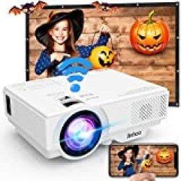 Proyector, Proyector Wifi, Mini Proyector 5500 Lúmen Soporta 1080P Full HD, Proyector Nativo 720P Compatible con TV Stick Smartphone Tabletas HDMI VGA USB TF AV para Cine en Casa.
