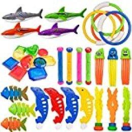 EXCEED Juguete de Buceo, 35 Piezas de Juguetes Divertidos subacuáticos de Verano para niños, incluidos Palos de Buceo, Anillos de Buceo, Bandidos de Tiburones, Pulpo etc con Bolsa de Transporte