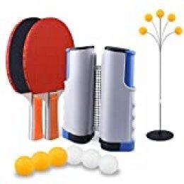 SUPERSUN Set de Ping Pong, 2 Raquetas de Tenis de Mesa | 6 Pelotas de Ping Pong | 1 Entrenadorde de Tenis de Mesa | 1 Retráctil Mesa Ping Pong Profesional Portátil para Juegos de Interior y Exterior