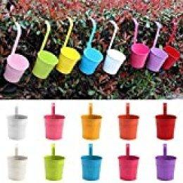 PetHot® 10 piezas macetas colgantes macetas con gancho de metal macetas colgantes macetas para ventana de balcón