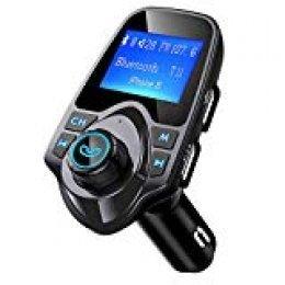 Transmisor Bluetooth FM de Mpow Cargador del Coche de 1.44 Pulgadas del USB Kit sin Hilos con el Puerto de Entrada o Salida de 3.5mm Audio, Ranura para Tarjeta del TF