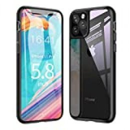 Ztotop Funda para iPhone 11 Pro, Claro 9H Tempered Glass Trasera Cubierta + Soft TPU Bumper Cover Anti-Scratch Shockproof Case Caso para iPhone 11 Pro 5.8 Pulgada 2019 - Negro