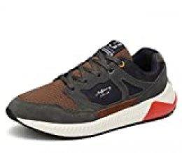 AX BOXING Zapatillas Deporte Hombres Mujer Running Sneakers Zapatos Hombre Vestir Casual Deportivas Padel Transpirables (45 EU, Gris Oscuro/marrón)