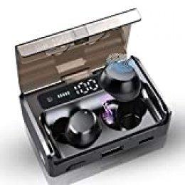 Auriculares Bluetooth 5.0 Auriculares Inalámbricos - Mini Twins Estéreo In-Ear Auriculares con Caja de Carga de 3500mAh para iPhone y Android, 160h reproducción, IPX7