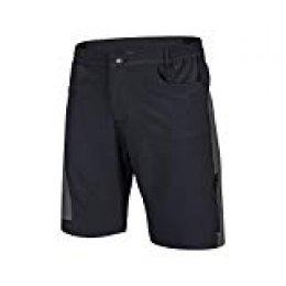 TOMSHOO Pantalones Cortos de Ciclismo Hombres Transpirable para Ciclismo Correr MTB o Deportes al Aire Libre (Negro+Gris, XL)