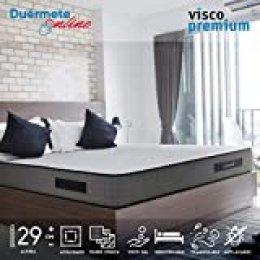 Duérmete Online Colchón Viscoelástico Visco Premium Biogel | Altura 29cm | Alto Confort y Máxima Higiene | Tejido Sanex Antibacteriano, Gel, 90x190
