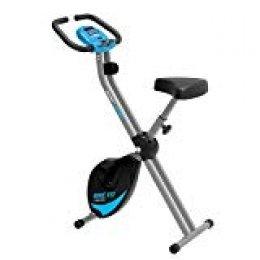 PRIXTON - Bicicleta Estatica Plegable con 8 Niveles de Resistencia, Ajuste de Asiento, Soporte para Tablet/móvil Integrado, Pantalla LED con Velocidad, Tiempo, Distancia, calorías | Bike Fit BF100