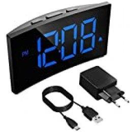 Holife Despertadores Digitales, Reloj Despertador Digital, Pantalla Curva LED de 5'', 6 Niveles de Brillos Ajustables, 3 Sonidos de Alarma, 2 Volúmenes, Puerto USB,Snooze,12/24H(incluido el Adaptador)