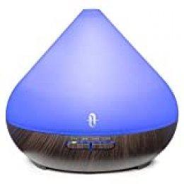 TaoTronics Humidificador Aromaterapia Ultrasónico 300ml, Difusor de Aceites Esenciales, 2019 Nuevo Versión, Tubo de aceite esencial, 7 Colores, Luz Nocturna, Temporizador, Auto-Apagado