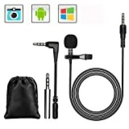 GeekerChip Microfono de Solapa,3.5mm Mini Mlavalier Micrófono de Condensador con 2 Adaptadores para Grabación Entrevista/Videoconferencia/Podcast/Dicción de Voz